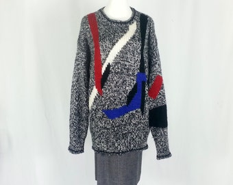 80's Sweater Large 90's Sweater Large Ugly Sweater XL Slouchy Sweater XL Oversized Sweater Geometric Triangle Black White Red Blue D