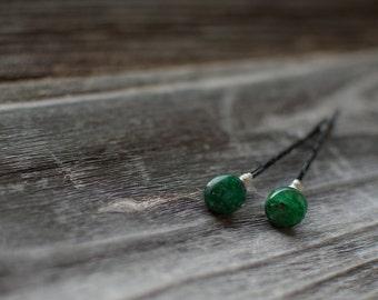 Green Kyanite Gemstone Hair Pins Gorgeous Green Decorative Bobby Pins Wedding Hair Pins Set Bobby Pins