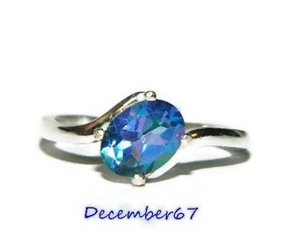Mystic Topaz Ring, Sterling Silver Ring With Blue Stone, Ring With Oval Stone, Flower Petal Topaz