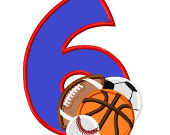 All Sports Balls Number Six Baseball, Soccer, Football and Basketball Applique Embroidery Design INSTANT DOWNLOAD