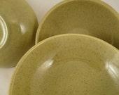 Avocado green bowls, spotted glaze, MCM, Mid Century, vintage, set of four