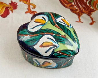Vintage box with lid…heart shaped box…hand painted box.