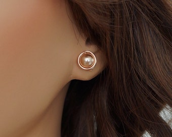 Rose Gold Pearl Stud Earrings, Wire Wrapped 14kt Rose Gold Filled Jewelry