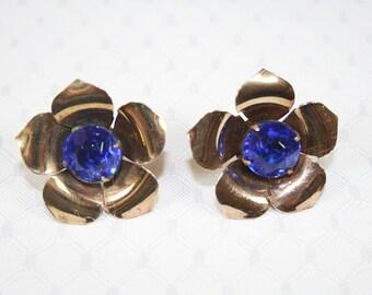 Brilliant Blue Rhinestone Flower Earrings Vintage Upcycled Rhinestone Earrings Bold Flower Earrings