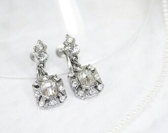 Vintage Rhinestone Dangle Earrings Vintage Rhinestone Wedding Earrings Dazzling Earrings for Any Occasion