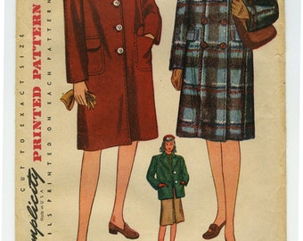 FF 40s Womens Coat Pattern - Simplicity 4563 Vintage Sewing - Sz 16, Bust 34 - 1940s Double Breasted Coat - Womens Box Coat & Jacket Pattern