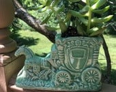 Reserved  Green Carriage and Horse Planter made in USA McCoy?