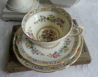 Foley Made in England Tea Cup Trio Adoration Ming Rose Fine Bone China E. Brain  &:Co. Ltd. Late 1930s