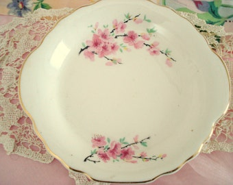 Vintage Shabby Small Serving Plate Peach Blossom W.S. George Lido White Cottage Chic Floral Vintage Wedding