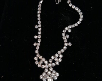 Gale Sparkling Rhinestone Necklace, Rectangle and Round Clear Rhinestones