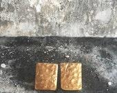 18k gold olated rectangle stud earrings