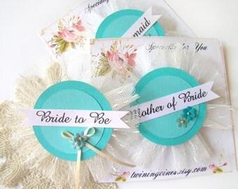 Aqua Bridal Shower Corsage, Bachelorette Party Pins, Bride Badge, Bride Pin, Bridal Shower, Hen Party Pins, Wedding Party Badges,