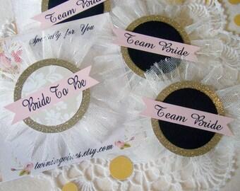 Team Bride Pins, Bachelorette Party Pins, Hen Party Pins, Gold Glitter Black Blush, Bride Badge, Bride Pin, Bride Corsage, Bridal Shower