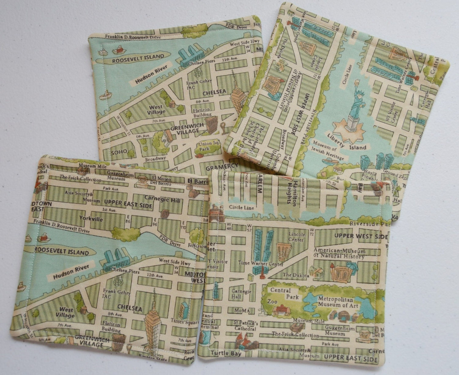 Fabric CoastersNew York City Map Set Of 4 Handmade Mug Rug