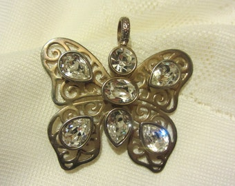 "Signed ""Graziano"" Beautiful  Butterfly Pendant With  Crystals"