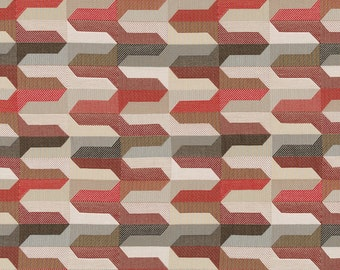 Red Brown Taupe Geometric Upholstery Fabric - Dark Red Woven Pillow Covers - Modern Taupe Fabric - Red White Geometric Fabric Headboard