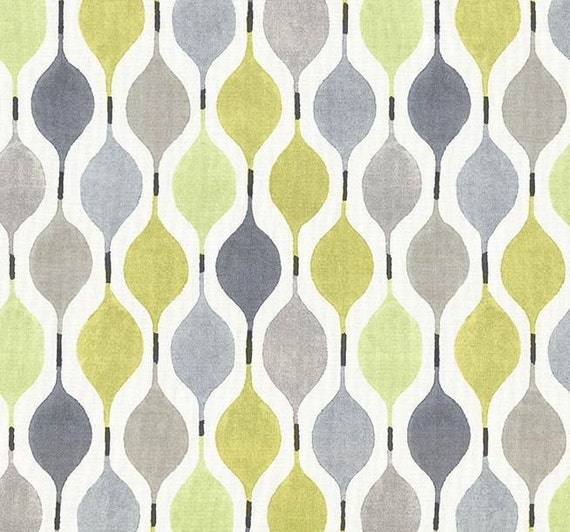 Yellow and Grey Geometric Cotton Home Decor Fabric Modern
