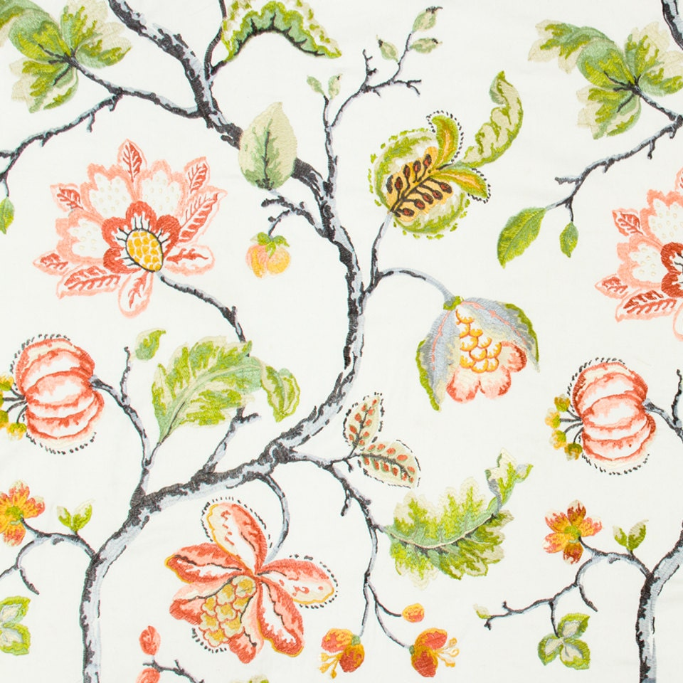 Red floral fabric embroidered drapery custom