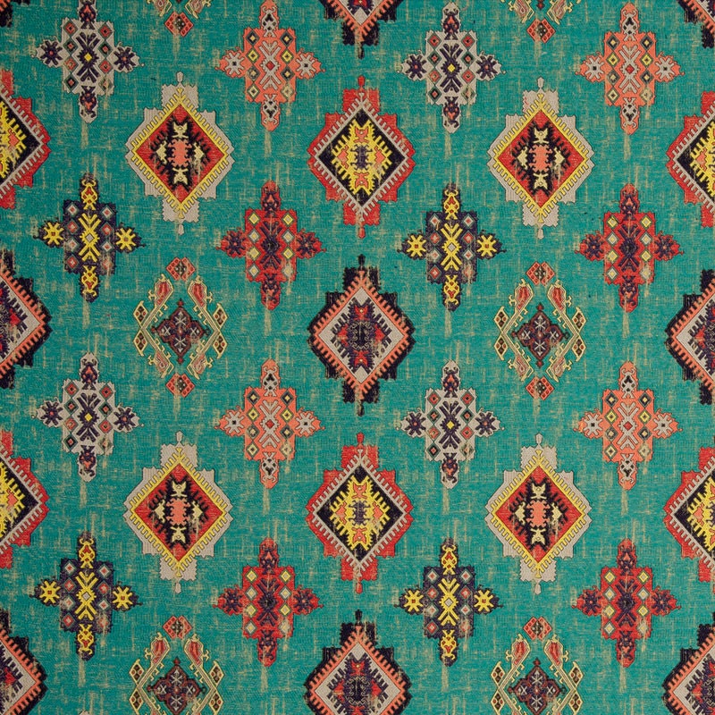 Teal Red Woven Ikat Tapestry Upholstery Fabric Textured