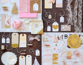 SALE! Gift Wrap Kit, Pink Gold, Paper Kit, Embellishment Kit, Gift Wrap, Pink Gold Gift Wrap, Pink Gold Kit, Blush Pink, Wedding Wrap
