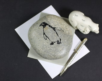Penguin engraved stone