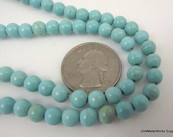 Blue Green Magnesite Round Beads, 5 - 6 mm Round Beads, 15 Inch Strand, Whole Strand