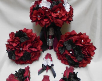Wedding Silk Flower Bridal Bouquets 18 pces Package Burgundy Black White Toss Bridesmaids  Boutonnieres Corsages FREE SHIPPING