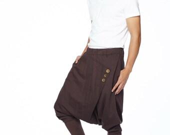 NO.167 Brown Cotton Jersey Casual Drop-Crotch Pants Swinger Wrap Harem Trousers, Unisex Pants