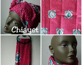BANK HOLIDAY SALE Chiayet African Ankara print tribal chic neck head wrap scarf - blue hot pink - Summer 2016 - New