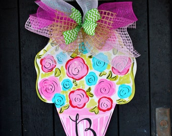 Flower Wreath | Summer Wreath | Flower Door Hanger | Gift for Mom | Mothers Day Wreath | Mothers Day Personalized | Mothers Day wood Sign