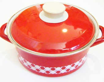 Vintage Enamelware Enameled Red And White Dutch Oven Double Handled Pot With Cover