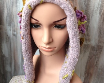 Knitted, felted hood with felt applications