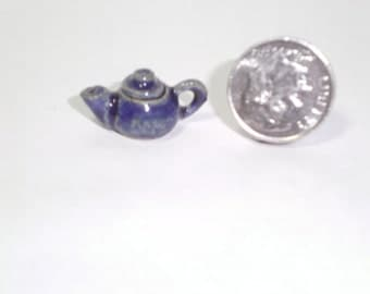 New Handmade Wheel Thrown Pottery Miniature Blue Tea Pot