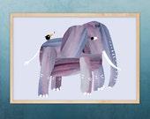 elephant print, A3 size