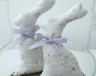 A pair of Lavender sachets. Bunny. Lavender. Scented sachets. Bunny lavender sachet. Easter Gift. Basket filler.