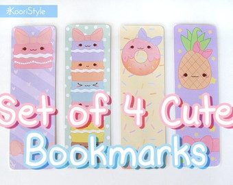 Set of 4 Cute Laminated Bookmarks 【Koori Style Handmade】