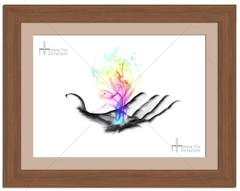 Rainbow Smoke In Hand Abstract Photographic Print - Various Sizes - Gift Idea