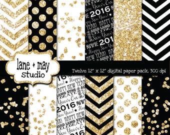 digital scrapbook papers - black, white and glitter gold 2016 new year's eve - INSTANT DOWNLOAD