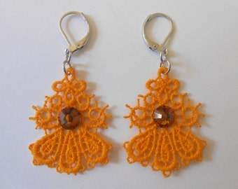 Small yellow lace earrings and steel stainless