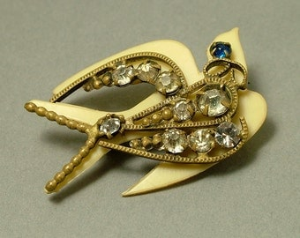 Antique/ estate 1900s Edwardian, tiny brass, cream celluloid and clear paste/ rhinestone, swallow / bird, lace pin/ brooch - jewelry