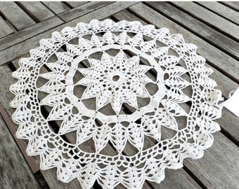 On Sale Vintage Doily, White, Round, Cotton, Crocheted, Table Linens, Wedding, Home Decor