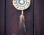 Dream Catcher - Raw Nature - With White Crochet Web and Natural Feather - Boho Home Decoration, Nursery Mobile