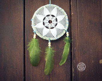 Dream Catcher - Deep in the Forest - With White Handmade Crochet Web and Green Feathers - Mobile, Home Decor, Decoration