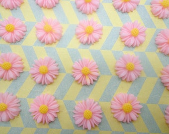 Flower Cabochons Resin Flowers 20pc Pink  Color Resin Sunflower Charms--14mm
