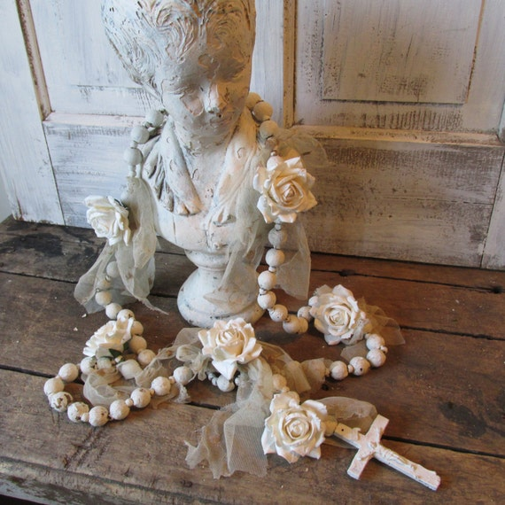 Huge White Rosary Wall Hanging French Nordic Wooden Painted