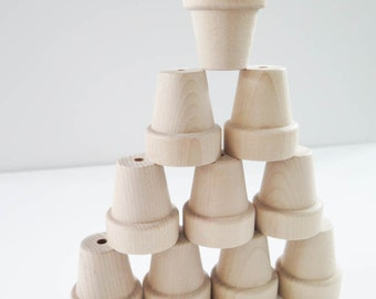 Wood Flower Pots | Small Unfinished Wooden Flower Pots for Painting, Kids Crafts - Set of 10