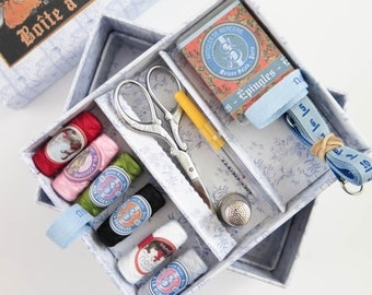 Sewing Box | Sewing Kit from Maison Sajou, Sewing Basket includes Scissors, Thimble, Thread, Needles, Seam Ripper, Tape Measure, Pins