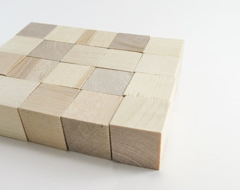 1 inch (25 mm) Solid Wooden Blocks - 50 Wood Blocks   Unfinished Wood Blocks, Alphabet Blocks, Wooden Blanks, Wood Toys, Wooden Dice