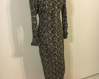 1940s brown print dress