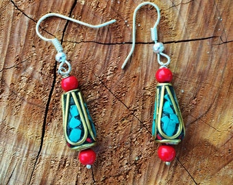 fancy dangle turquoise earrings